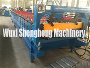 Blue Color High Strength Metal Deck Roll Forming Machine Big Wave Length